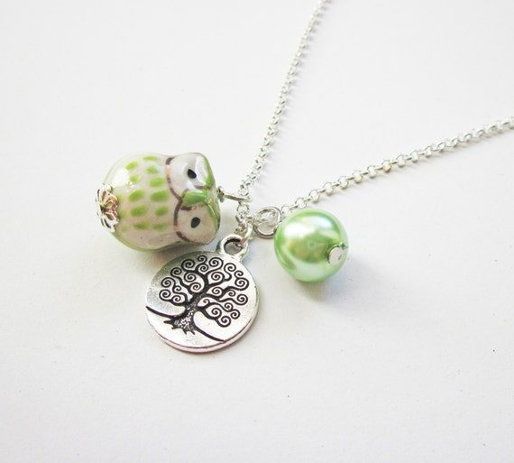 Owl Necklace, Tree of life necklace, Owl Pendant, Owl Jewelry, Green Necklace, Owl Bead, Lovely Owl Necklace, ceramic owl necklace