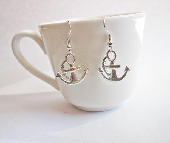 Silver Anchor earrings, Sailor Earrings, Anchor Jewelry, Sea earrings, celebrity earrings, Anchor earrings silver, handmade jewelry