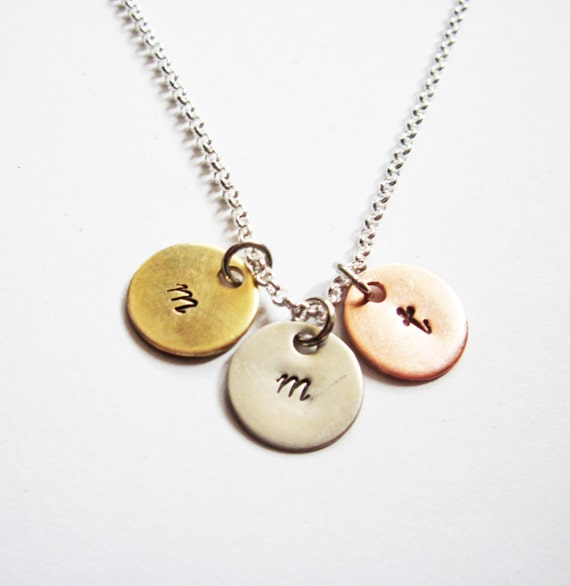 Three Initials Necklace, Stamped Initial Charm Necklace, engraved 3 initials necklace, hand stamped initial necklace, personalized jewelry