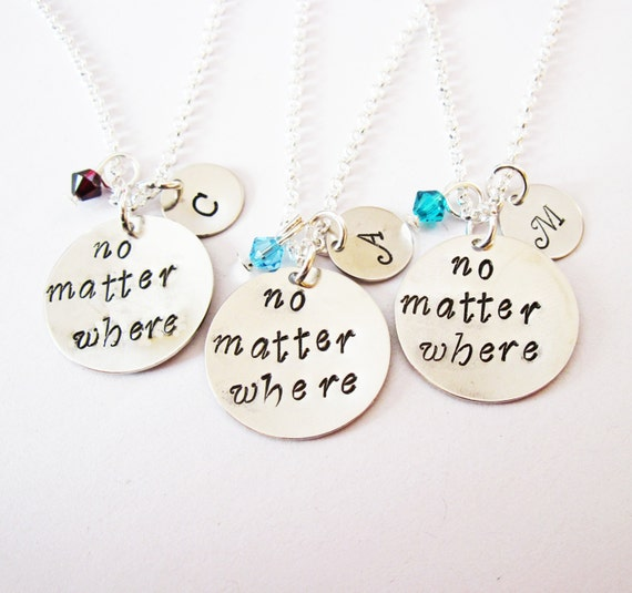 3 best friend necklace, initial necklace, long distance, personalized jewelry gift for best friends three friendship bff necklace birthstone