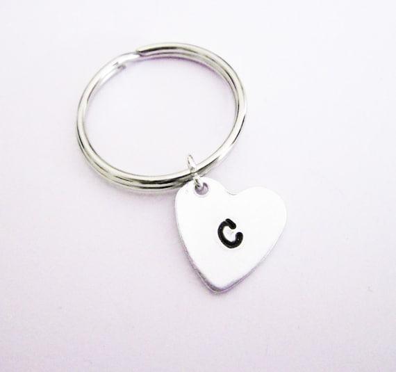 Personalized heart keychain, initial keychain, custom keychain, best friends gift, bff keychains, personalized initial, heart jewelry silver
