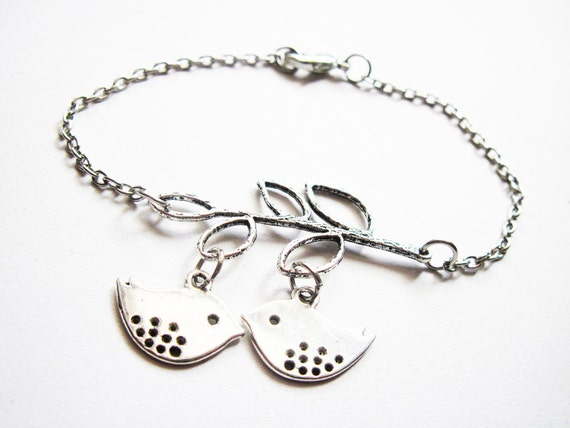 2 Birds Bracelet, Birds on a branch silver Bracelet, Bird Jewelry, double Bird Charm, Simple Bracelet, Lovebird Bracelet, Love Bird Bracelet