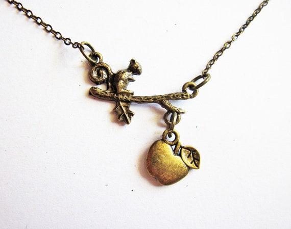 Squirrel Necklace, squirrel jewelry, animal inspired necklace, cute squirrel necklace, squirrel on a branch, animal jewelry, animal necklace