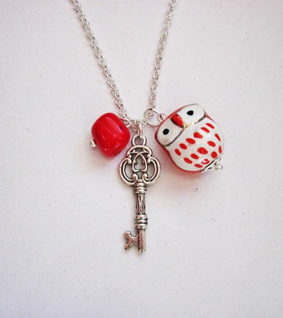 Owl Necklace, Skeleton Key necklace, Owl Pendant, Owl Jewelry, Red Owl Necklace, Key charm, Beaded Owl Necklace, ceramic owl pendant