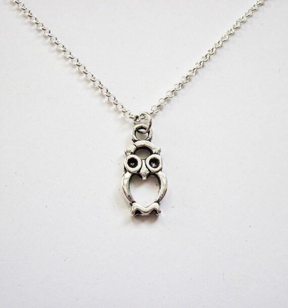 Tiny Owl Necklace, Silver Owl Necklace, Owl Jewelry, Owl Necklace, Owl choker Necklace, simple necklace, Owl charm Necklace Jewelry