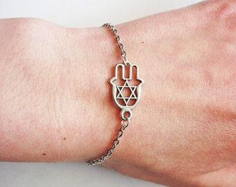 Silver Hamsa Bracelet, Hamsa charm, Hamsa jewelry, Jewish Jewelry, Jewish Bracelet, Custom size bracelet, Yoga Bracelet