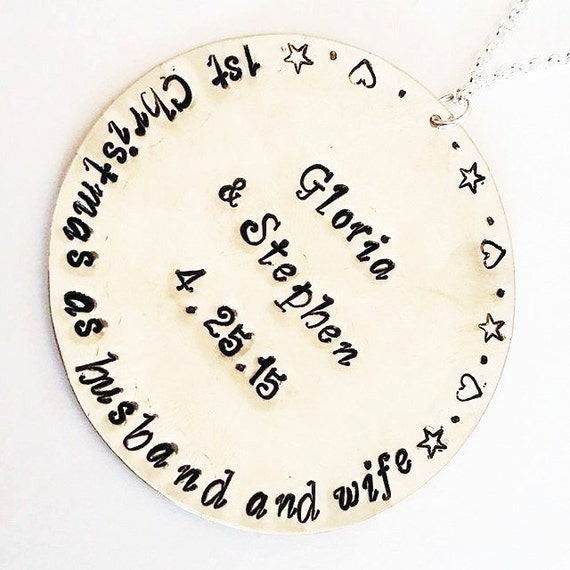 Personalized Christmas Ornament First Christmas as husband and wife, 1st Christmas as Mr. and Mrs. new home decoration custom names and date