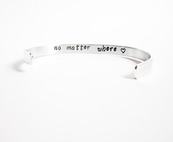 Mother Daughter gift, Hidden Message Bracelet, no matter where, friend mom secret message, customizable, aluminium cuff, copper, brass