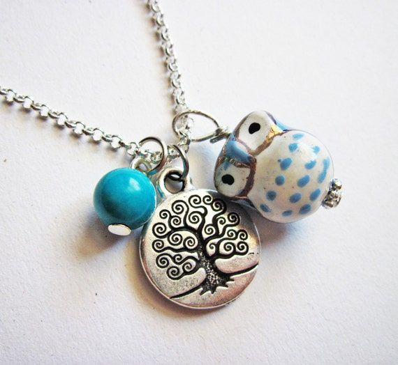 Owl Necklace, Tree of life necklace, Owl Pendant, Owl Jewelry, Turquoise Necklace, Owl Bead, Lovely Owl Necklace, ceramic owl necklace