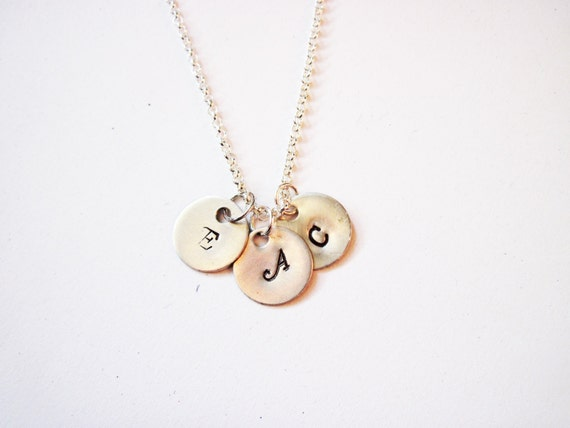 Silver Three Initials Necklace, Hand Stamped  disc Charm, Family Initials, Mom of 3 Kids, Mom Kid Grandma necklace, Three Bridesmaids