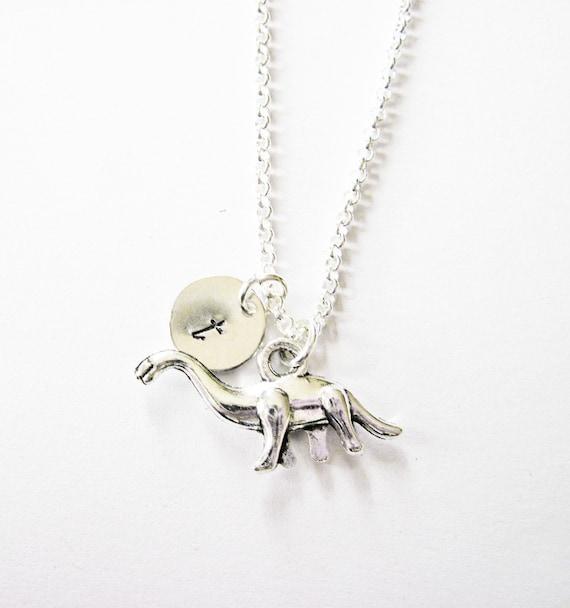 dinosaur necklace, personalized dinosaur charm necklace, initial dinosaur jewelry, customized dino animal jewelry, personalized gift
