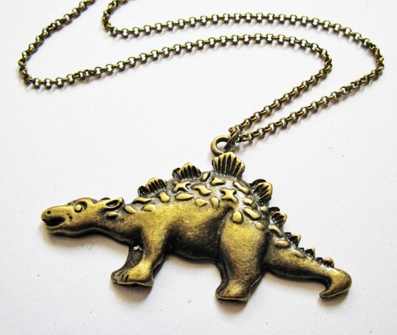 Dinosaur necklace, stegosaurus necklace, dino necklace, animal necklace, dinosaur jewelry, dino jewelry, quirky necklace, dinosaur pendant
