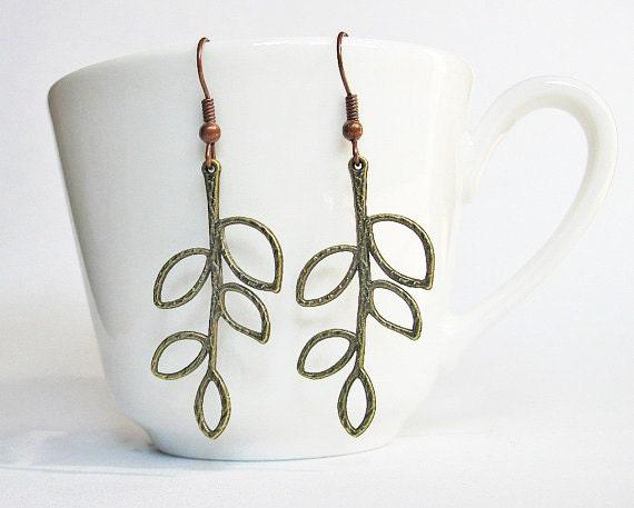 Leaf Earrings, Branch Earrings, Brass Earrings, Branch Jewelry, Five leaves Charms, dangle earrings, rustic earrings, everyday earrings