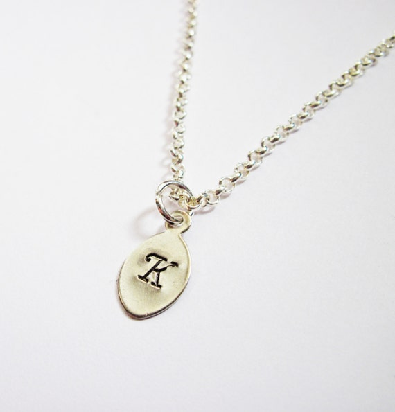 Initial Necklace personalized necklace, tiny leaf Silver necklace, engraved pendant, monogrammed necklace, hand stamped necklace, 1 letter