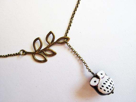 Owl Necklace, Miniature Owl Necklace, Owl Jewelry, Owl Lariat Necklace, Owl Ceramic Necklace, Owl necklace, Owl Jewelry Necklace, black owls