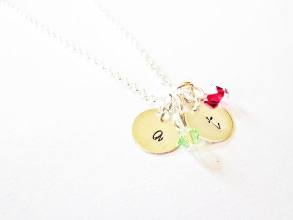 Personalized two initials Necklace, two initials necklace birthstone, mom of two kids, mother of 2, custom initials, sisters, best friends