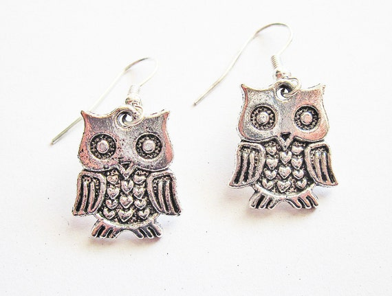 Owl Earrings, Antique silver owl earrings, Steampunk, Cute Owl, Antique owl earrings, Lovely Owl charms, Owl Jewelry, Lovely Owls