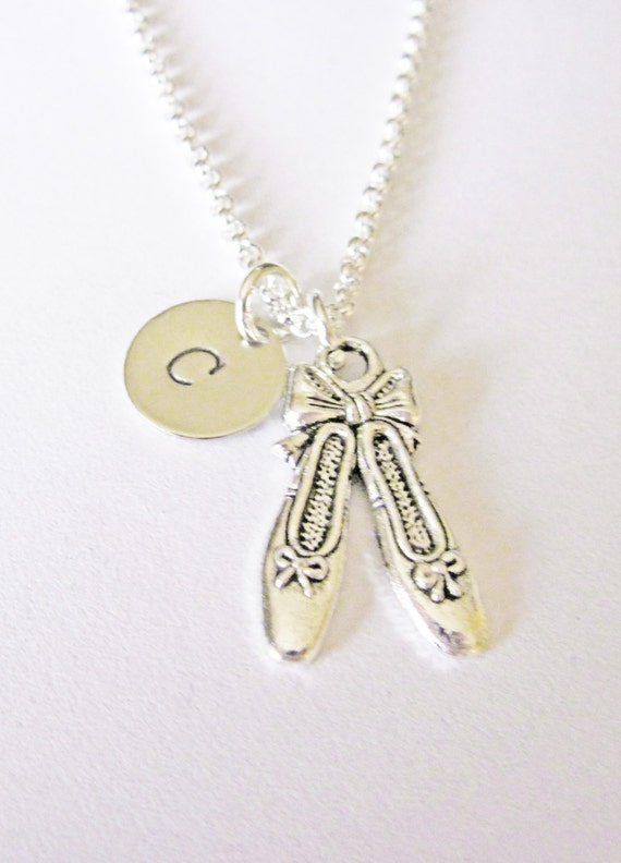 Ballet shoes necklace, ballet slippers, initial necklace, initial hand stamped, personalized, antique silver, monogram, ballerina