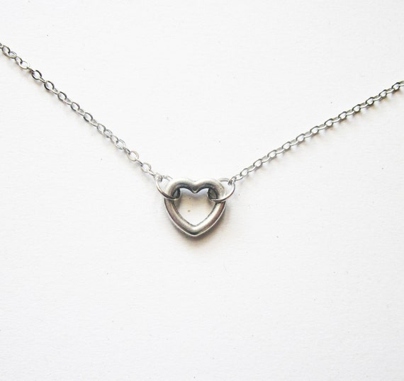 small heart necklace, simple silver necklace everyday jewelry, heart jewelry, small charm necklace, tiny necklace casual jewelry, valentines
