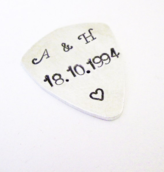 Personalized guitar pick, initials and anniversary date plectrum, Mens Gifts, gifts for men, Fathers day, Aluminum, hand stamped guitar pick