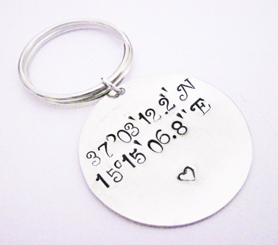 Latitude Longitude Keychain, Personalized Gift, Stamped Keychain, Anniversary Gift, Wedding Gift, Engagement Gift, Lat Long Keychain