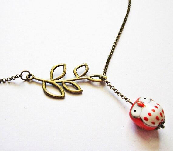 Owl Necklace, Ceramic Owl Necklace, Owl Jewelry, Owl Lariat Necklace, Owl Branch Necklace, Owl Y necklace, Owl Necklace Jewelry, red owls