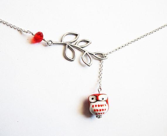 Owl Lariat Necklace, Silver Owl Necklace, Owl Jewelry, Leaf Owl Necklace, Owl on a Branch Necklace, Y necklace, Owl Miniature Necklace