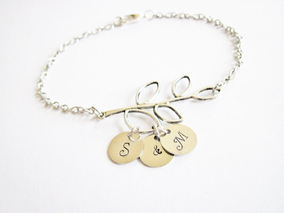 Personalized Initial Bracelet with two Initials and ampersand, Mother Bracelet, Branch Initial Bracelet, Mom Bracelet two discs 2 initials