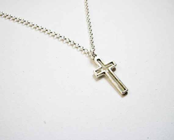 dainty cross necklace - delicate everyday jewelry, gift for her under 15 usd, silver cross jewelry, kelly ripa necklace, silver cross charm