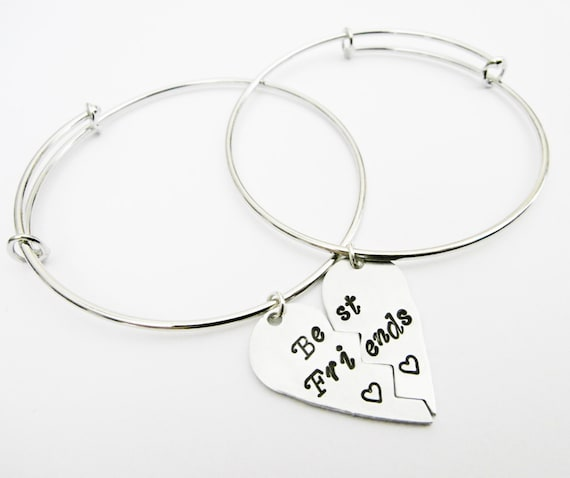 San Francisco 17159 349c0 Set di due bracciali per migliori amiche, con cuore diviso in due,  braccialetti aggiustabili, regolabili, con ciondolo cuore rotto a metà