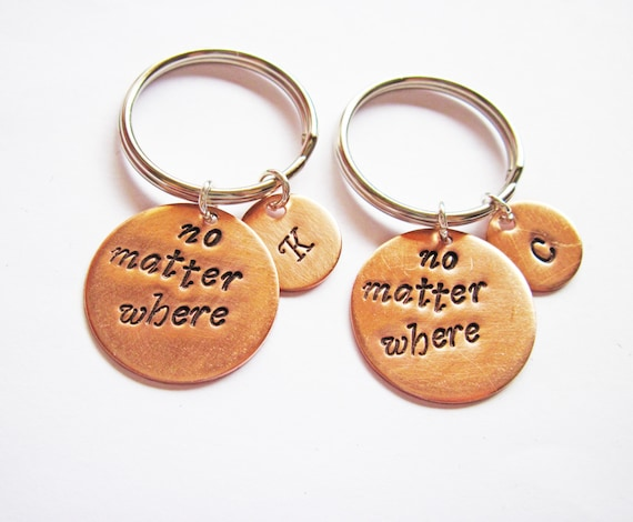 best friend keychains, initial key chains moving away gift, no matter where Hand Stamped Jewelry Long Distance Set of 2 initial keychain bff