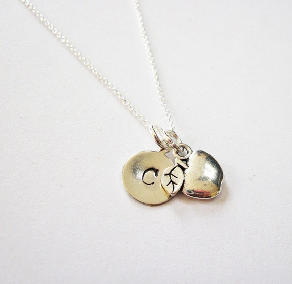 Personalized Apple Necklace, Teacher Necklace, Sterling Necklace, Apple Necklace, personalized necklace, teacher gift, initial pendant charm