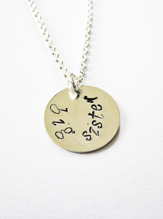 personalized big sister necklace, big sister gift, handstamped jewelry, personalized necklace, big sis jewelry, custom necklace