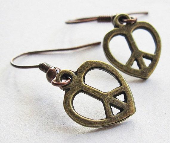 Peace Love Earrings, peace and love, heart jewelry, hippie earrings, cute pretty tiny earrings, vintage style, vintage earrings