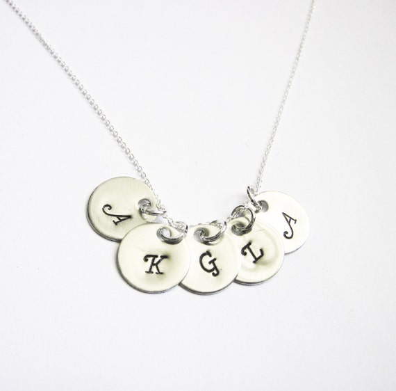 Family of Five, Personalized Handstamped Initial Charm Necklace, Birthstone Jewelry, Mommy Necklace, Sterling Silver, Mothers Birthday, tree