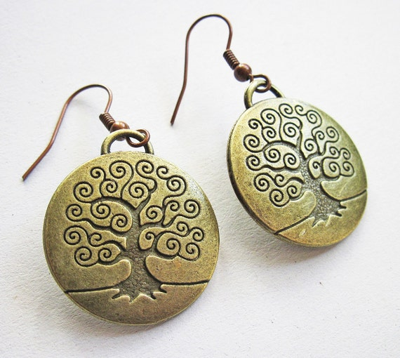 Tree of Life Earrings, antique bronze tree of life charms, vintage style, retro look, tree of life jewelry, handmade affordable earrings