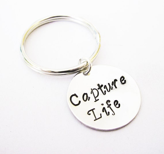 Capture Life keychain, photographer gift, custom key chain, personalized jewelry, photography key ring, capture moment keychain, handstamped