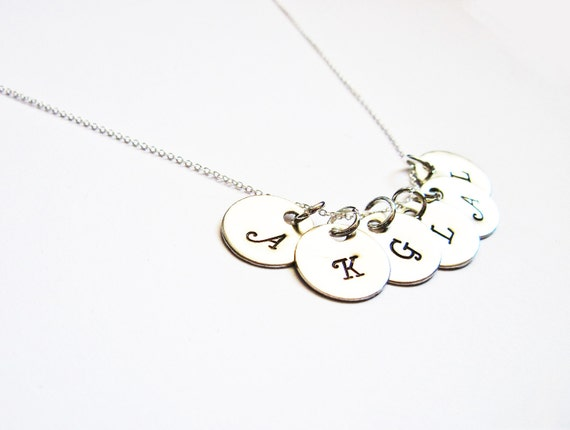 6 Initial Necklace, Personalized Disc Necklace, Mom Kids Necklace, six Initial Charms, Sterling Silver necklace, custom initial necklace