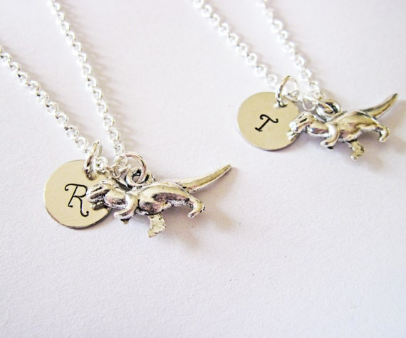 personalized dinosaur necklace set of 2 set of two Tyrannosaurus Rex charm, T-rex initial necklace, paleontology charm, kids, dinosaur lover