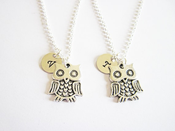 gift for best friends, initial best friend necklaces set, 2 owl necklaces personalized jewelry, best friend jewelry bff necklace, friendship