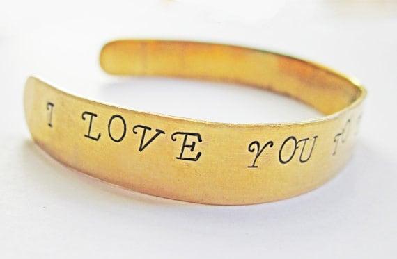 Personalized Bracelet I love you to the moon and back, Hand Stamped Brass Bracelet. Custom bracelet. Bangle bracelet. Gold Bracelet, cuff