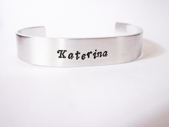 Personalized NAME Cuff Bracelet, Aluminum Bracelet, Hand Stamped Cuff, Handstamped Bracelet, Personalized Bracelet, Mothers Day, movie quote