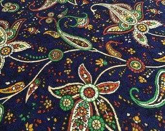 Royal Blue Paisley Print Rayon Fabric Vintage New Retro Fashion Fabric