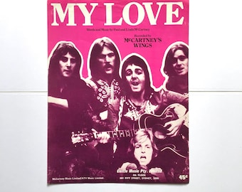 My Love Words and Music by Paul and Linda McCartney's Wings Vintage Sheet Music