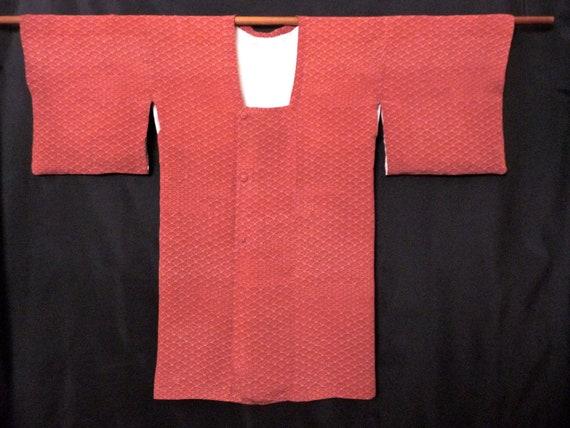 Kimono Fan Print Silk Crepe Vintage Kimono Robe