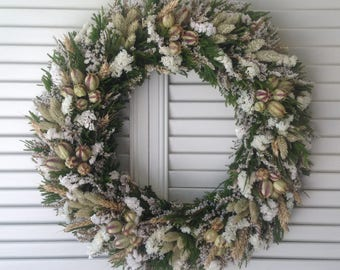 Green And White Dried Flower Wreath, Summer Wreath, Wedding Wreath, All Year Dried Wreath