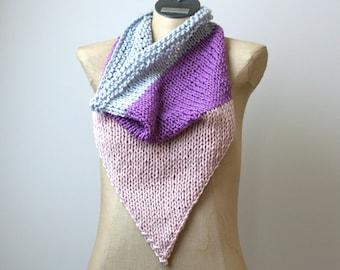 Ready to Ship: Organic Cotton Bandana Scarf - Hand Knit Bandana - Organic Cotton Scarf - Infinity Scarf - Pink Scarf - Amy LaRoux