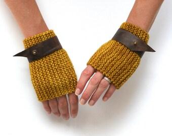 Ready to Ship: Harley Gauntlets - Leather Cuff Gloves - Hand Knit Gloves - Merino Gloves - Fingerless Gloves - Wool Gloves - Unisex Gloves