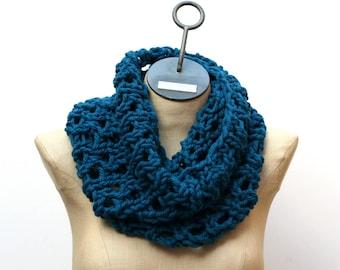 Ready to Ship: Merino Lace Cowl - Hand Knit Scarf - Merino Scarf - Neck Warmer - Infinity Scarf - Blue Scarf - Oversize Scarf - Wool Scarf