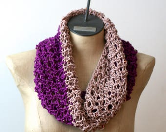 Reserved for Nicole: Spring Bling Cowl - Hand Knit Scarf - Cotton Scarf - Lace Scarf - Beaded Scarf - Infinity Scarf - Purple
